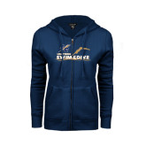 College ENZA Ladies Navy Fleece Full Zip Hoodie-Swim and Dive Design