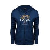 College ENZA Ladies Navy Fleece Full Zip Hoodie-Game Set Match