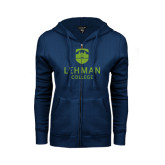 ENZA Ladies Navy Fleece Full Zip Hoodie-University Mark