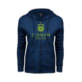 College ENZA Ladies Navy Fleece Full Zip Hoodie-University Mark