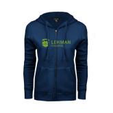 College ENZA Ladies Navy Fleece Full Zip Hoodie-Flat University Mark
