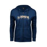 College ENZA Ladies Navy Fleece Full Zip Hoodie-Arched Lehman College