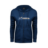 ENZA Ladies Navy Fleece Full Zip Hoodie-LC Lightning Flat