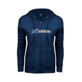 College ENZA Ladies Navy Fleece Full Zip Hoodie-LC Lightning Flat