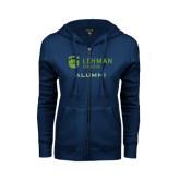 College ENZA Ladies Navy Fleece Full Zip Hoodie-Alumni