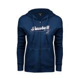 College ENZA Ladies Navy Fleece Full Zip Hoodie-Baseball Script