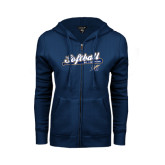 ENZA Ladies Navy Fleece Full Zip Hoodie-Softball Script