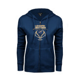 ENZA Ladies Navy Fleece Full Zip Hoodie-Basketball On Ball