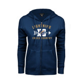 ENZA Ladies Navy Fleece Full Zip Hoodie-Lightning Cross Country