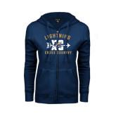 College ENZA Ladies Navy Fleece Full Zip Hoodie-Lightning Cross Country