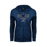 ENZA Ladies Navy Fleece Full Zip Hoodie-Just Kick It