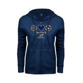College ENZA Ladies Navy Fleece Full Zip Hoodie-Just Kick It