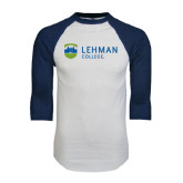 White/Navy Raglan Baseball T-Shirt-Flat University Mark