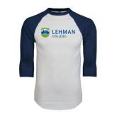 White/Navy Raglan Baseball T-Shirt-Flat University Mark