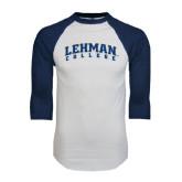 White/Navy Raglan Baseball T-Shirt-Arched Lehman College