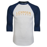 White/Navy Raglan Baseball T-Shirt-Arched Lehman College