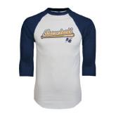 White/Navy Raglan Baseball T-Shirt-Baseball Script