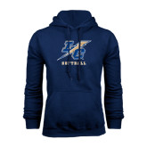 College Navy Fleece Hoodie-Softball