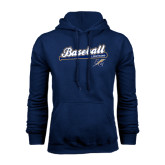 College Navy Fleece Hoodie-Baseball Script