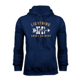 College Navy Fleece Hoodie-Lightning Cross Country