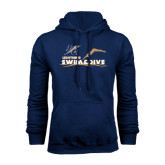 College Navy Fleece Hoodie-Swim and Dive Design