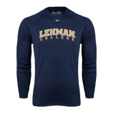 Under Armour Navy Long Sleeve Tech Tee-Arched Lehman College