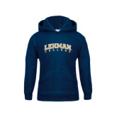 Youth Navy Fleece Hood-Arched Lehman College