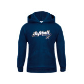 College Youth Navy Fleece Hoodie-Softball Script