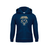 College Youth Navy Fleece Hoodie-Basketball On Ball