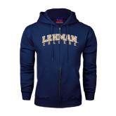 College Navy Fleece Full Zip Hoodie-Arched Lehman College