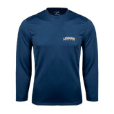 Syntrel Performance Navy Longsleeve Shirt-Arched Lehman College