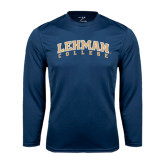 College Performance Navy Longsleeve Shirt-Arched Lehman College
