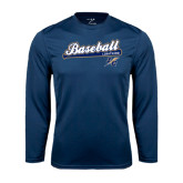 Syntrel Performance Navy Longsleeve Shirt-Baseball Script