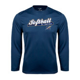 Syntrel Performance Navy Longsleeve Shirt-Softball Script