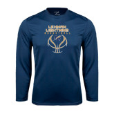 College Performance Navy Longsleeve Shirt-Basketball On Ball