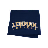 College Navy Sweatshirt Blanket-Arched Lehman College