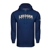 College Under Armour Navy Performance Sweats Team Hoodie-Arched Lehman College