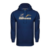 College Under Armour Navy Performance Sweats Team Hoodie-Swim and Dive Design