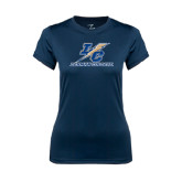 Ladies Syntrel Performance Navy Tee-LC Lightning Stacked