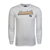 White Long Sleeve T Shirt-Baseball Script