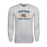 White Long Sleeve T Shirt-Lightning Cross Country