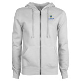 ENZA Ladies White Fleece Full Zip Hoodie-Arched Lehman College