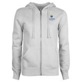 College ENZA Ladies White Fleece Full Zip Hoodie-Arched Lehman College