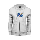 College ENZA Ladies White Fleece Full Zip Hoodie-LC Lightning