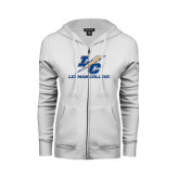 ENZA Ladies White Fleece Full Zip Hoodie-LC Lightning Stacked
