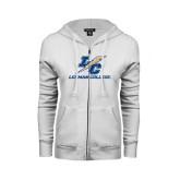 College ENZA Ladies White Fleece Full Zip Hoodie-LC Lightning Stacked