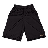 College Russell Performance Black 9 Inch Short w/Pockets-Arched Lehman College