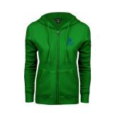 College ENZA Ladies Kelly Green Fleece Full Zip Hoodie-University Mark