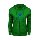 ENZA Ladies Kelly Green Fleece Full Zip Hoodie-University Mark