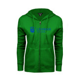 ENZA Ladies Kelly Green Fleece Full Zip Hoodie-Flat University Mark